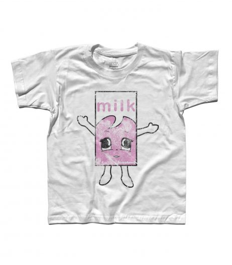 Blur t-shirt bambino raffigurante il cartone di latte alla fragola del video