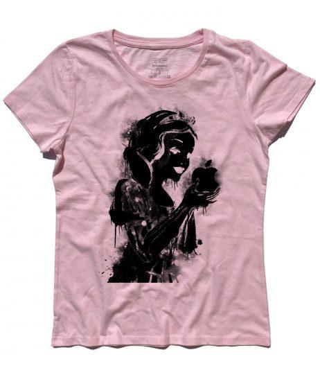 biancaneve t-shirt donna raffigurante la principessa con in mano la mela logo della Apple