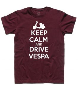 keep calm vespa t-shirt uomo con scritta keep calm and drive vespa