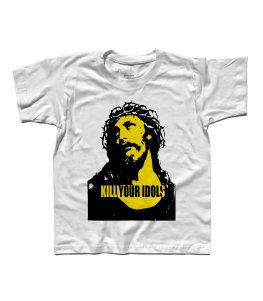 T-shirt bambino con stampata l'immagine Gesù e scritta kill your idols