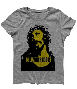 T-shirt donna con stampata l'immagine Gesù e scritta kill your idols