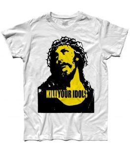 T-shirt uomo con stampata l'immagine Gesù e scritta kill your idols