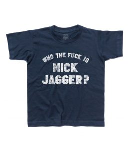 who the fuck is Mick Jagger t-shirt bambino ispirata alla t-shirt indossata da Keith Richards