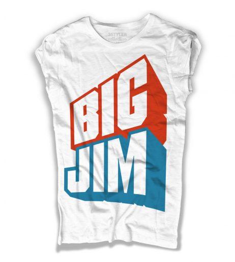 big jim t-shirt donna bianca raffigurante il celebre logo azzurro e rosso del giocattolo cult della mattel