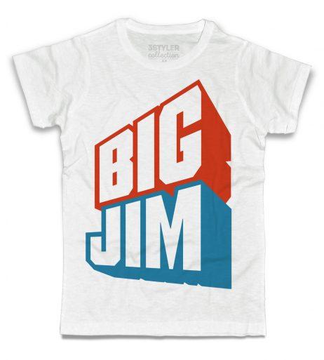 big jim t-shirt uomo bianca raffigurante il celebre logo azzurro e rosso del giocattolo cult della mattel