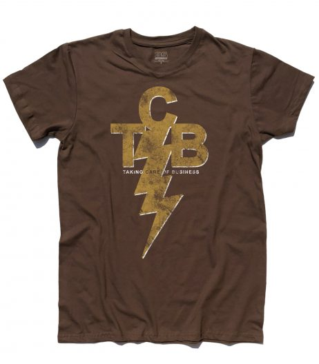 TCB - taking care of Business - Elvis Presley logo T-shirt uomo Cioccolata